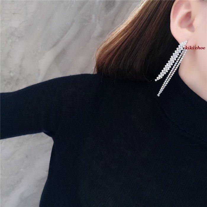 ♥kiki choc♥**925銀針* 奢華超閃亮滿版排鑽/水鑽長流蘇長耳環 2用