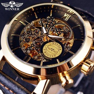 80 自動機械錶 WINNER 男錶男士金色鏤空全自動機械手錶皮帶錶 腕錶