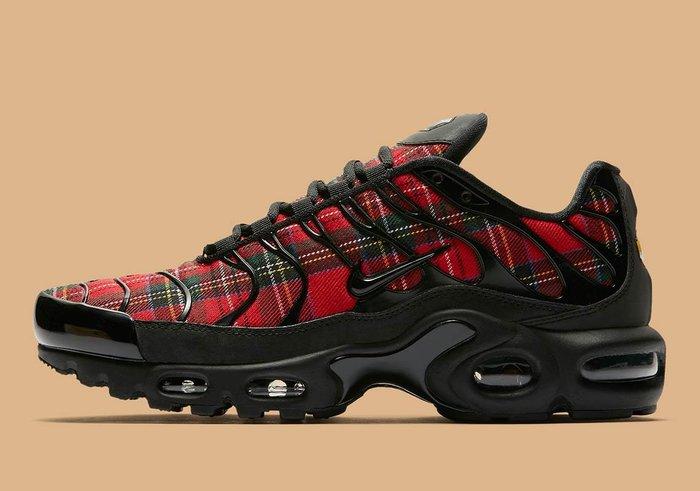 南 2018 9月 NIKE AIR MAX PLUS TARTAN 黑紅 格紋 氣墊 慢跑鞋 女 AV9955-001