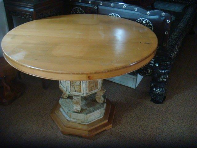 早期檜木圓形桌 (107x77cm)鑲骨片創意組合獨一.餐桌,泡茶桌