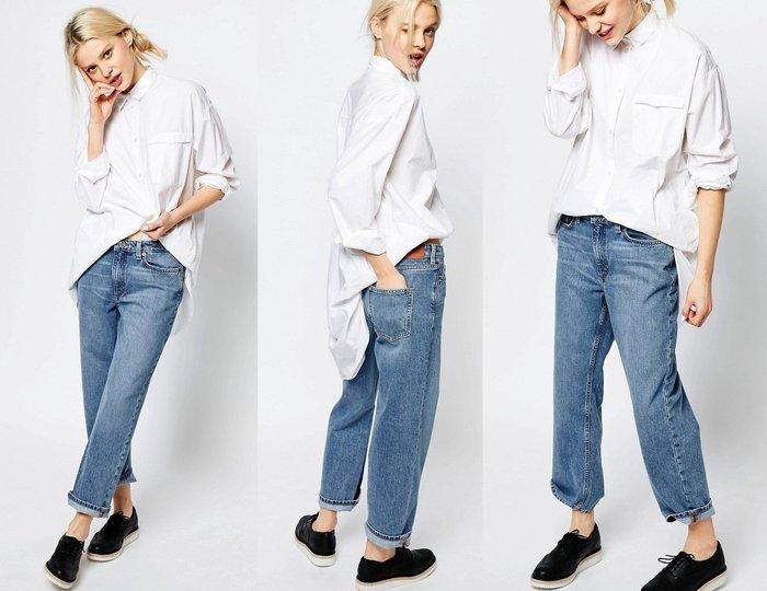 ◎美國代買◎ASOS代買酸洗藍刷色搭配寛鬆直筒剪裁復古英倫風高腰可反摺八分牛仔褲~歐美街風~大尺碼