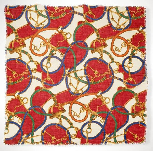 大降價!全新LAUREN Ralph Lauren經典馬蹄皮帶風格羊毛圍巾方巾,低價起標無底價!本商品免運費!