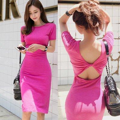 好美的莓粉色🌵露背修身包臀連身裙🌵sal0536