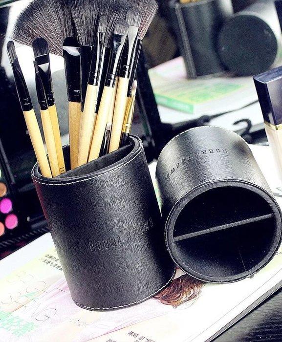 PARIS WOMAN.Bobbi Brown 經典極緻簡約黑色 仿皮皮革 專業刷桶