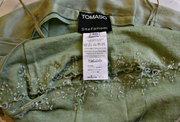 歐陸大牌TOMASO串珠亮片淺軍綠色細肩帶上衣