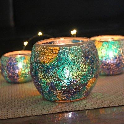 [依缘良品]#地中海藍色套三圓球馬賽克玻璃燭臺浪漫燭光晚餐家居裝飾擺設#燭臺#裝飾
