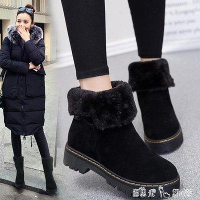 YEAHSHOP 中筒靴 韓版百搭加絨雪地靴女學生冬季保暖短靴平底防滑棉鞋中筒412304Y185
