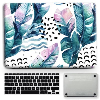 蘋果筆記本保護殼機殼MacBook Pro Air型號任選 香蕉葉手繪水彩訂製團案 熱帶元素 個性化硬殼 磨砂保護套