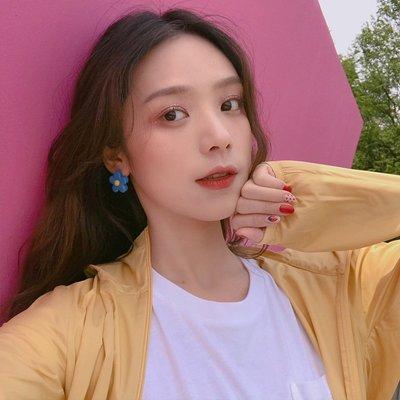 氣少女撞色軟陶花朵耳環韓國敲萌童趣糖果色可愛耳釘E936