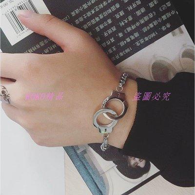 KOKO精品 潮牌歐美潮牌PUT DOWN 凹刻字母信仰能量鏈鈦鋼情侶愛情手銬 男女手鏈