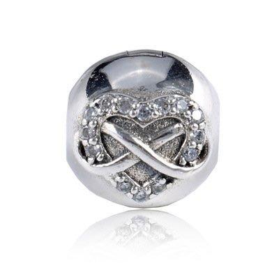 凱莉代購 Pandora 潘朵拉 S925純銀新款手鍊diy珠子配件愛心鑲鑽定位扣  預購特價