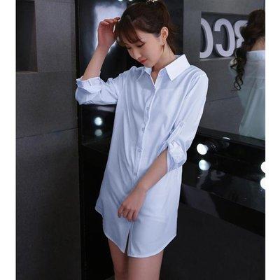 襯衫 性感  長款白色襯衫女新款韓版薄長袖寬松開衫防曬衣外套睡衣