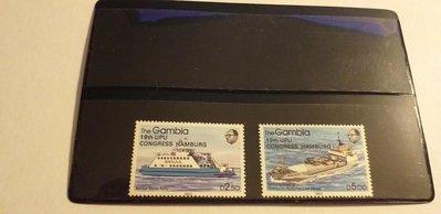 """Gambia1984輪船加字""""19th UPU CONGRESS HAMBURG """"2全,特價150元。"""