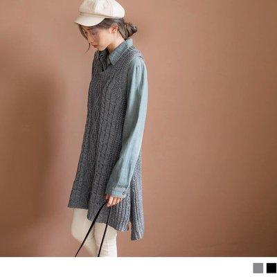 《FA1717-》簡約風羅紋編織長版針織背心