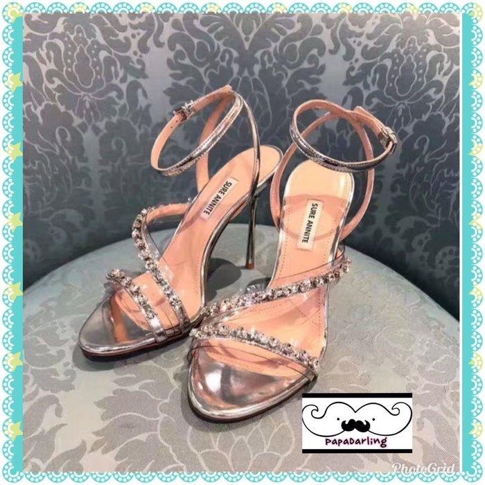 PapaDarling 19SS 超美 歐美時尚潮流手工縫製水鑽性感細跟 高跟涼鞋 高跟鞋 宴會鞋
