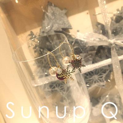 13C~Sunup_Q 現貨 韓國 ins風毛球珍珠雪花耳環前后錯開 氣質02-08