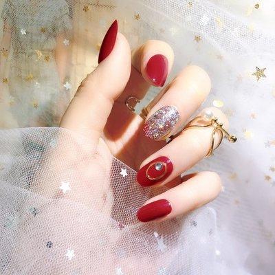 美甲成品假指甲貼片ins新娘成品甲網紅穿戴甲片短款可拆卸