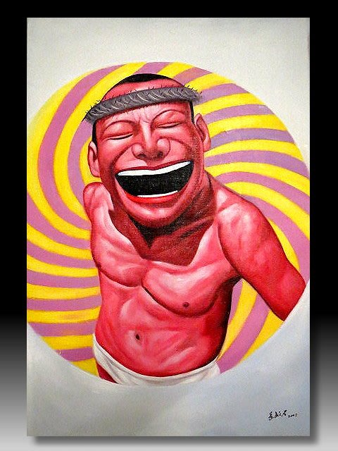 【 金王記拍寶網 】U1232  九O年代當代亞洲藝術家 岳敏君款 手繪油畫一張 ~ 罕見系列作品 稀少 藝術無價~