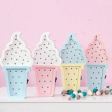 夢幻普普風色彩可愛小夜燈ICE cream冰淇淋甜筒霜淇淋標示牌LED燈牌招牌 美式復古木質壁飾燈排 民宿咖啡廳家居裝飾