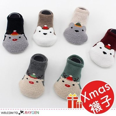 八號倉庫 聖誕帽麋鹿熊造型襪 寶寶襪 船襪 6款/組【2Y093G757】