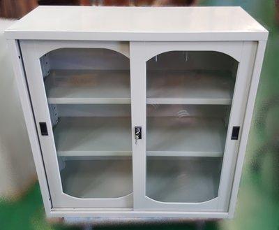 【宏品二手家具】二手家具推薦 全新D81804玻璃3尺鐵櫃*上玻璃下鐵門公文櫃  理想櫃 資料櫃 辦公桌椅 電腦桌椅