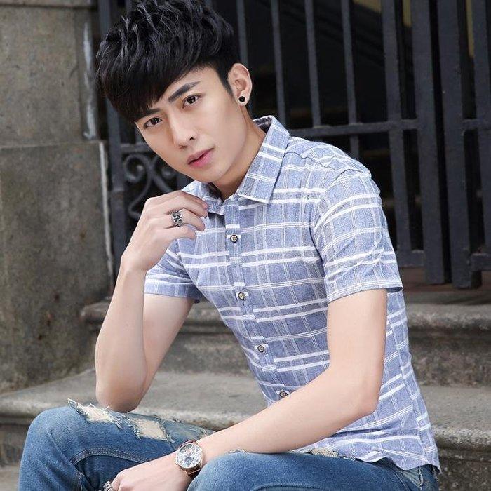 短袖格紋襯衫 時尚男士格子襯衫學生襯衣修身t323
