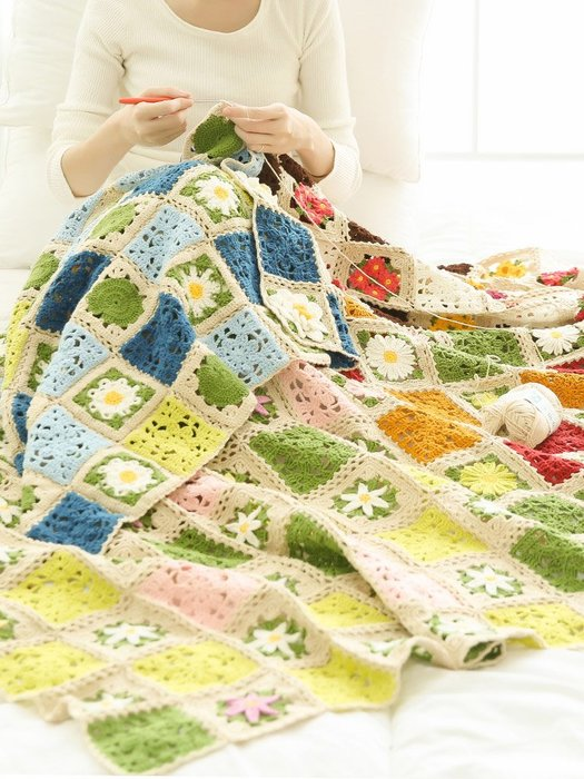 聚吉小屋 #蘇蘇姐家四季花毯 全手工diy棉毛線手編鉤針編織線團拼花毯材料包