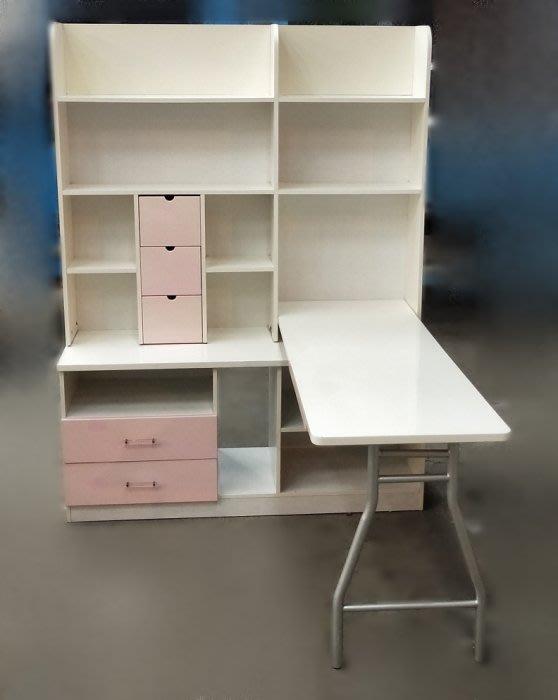 【宏品二手家具館】中古家具 家電 E82408*白粉色L型書桌 * 辦公桌 兒童桌椅 寫字桌 課桌椅 大學椅拍賣