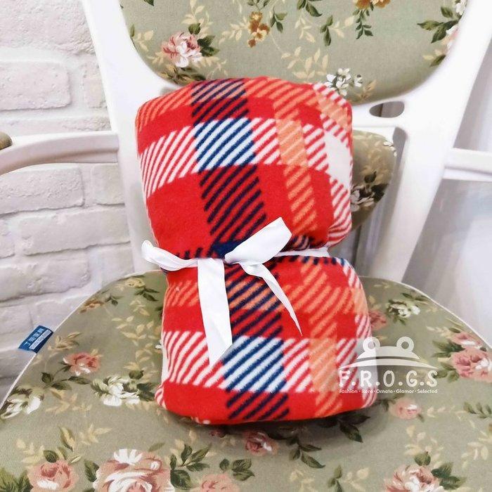 F.R.O.G.S WQ0053〔全新品〕柔軟舒適紅白藍格子加絨造型毛毯蓋毯空調毯小毯子被子涼被單人被-現貨特價