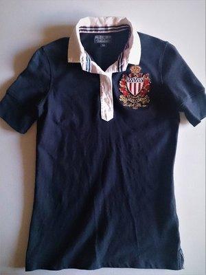 (((最後出清!!))) 二手~美國 POLO JEANS COMPANY 徽章刺繡 深藍色 彈性棉POLO衫(XS)