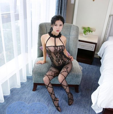 Sexy Sheer Mesh Lingerie Bodysuits Lace Collar Hollow Out