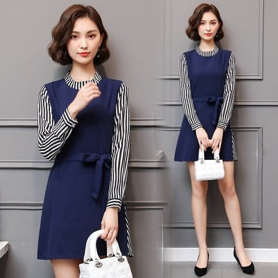 GOGO SHOP☆╭韓版新款 時尚條紋拼接假兩件洋裝 繫帶連身裙【Y1599】XL~5XL大尺碼洋裝 裙子