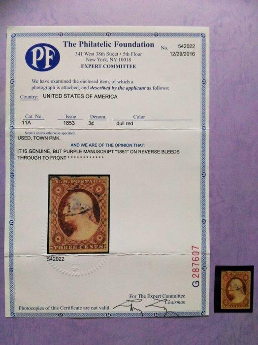 (極品珍藏!)美國(US) 1851年(附證書) 3c Washington #11A. PF Certificate