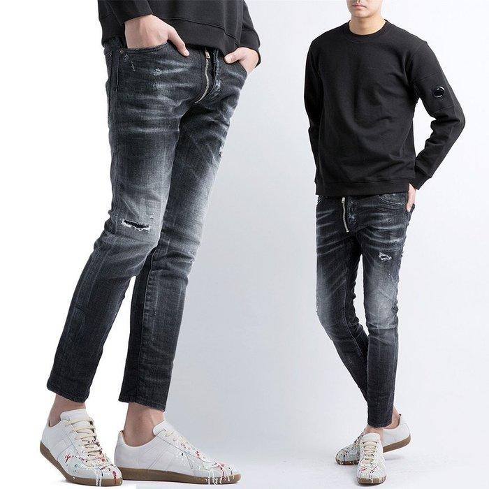 現貨【DSQUARED 2】2019春夏 黑色拉鍊褲擋SKATER牛仔褲 *30%OFF*