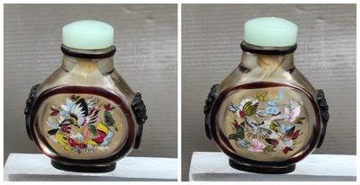 【 懷德-肖 】託 售--- 老 件 ---玻璃 套料 舖首 內畫 鼻煙壺
