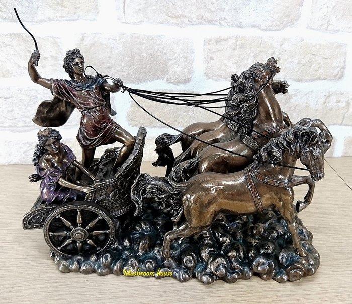 點點蘑菇屋 歐洲精品仿銅雕塑~阿波羅與戴安娜架著四馬戰車 希臘神話雕像擺飾 現貨 免運費