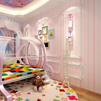 韓式粉色背景牆紙無紡布溫馨臥室女孩兒童公主房壁紙BLNZ 全館免運