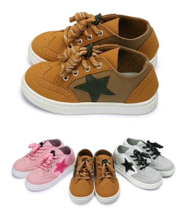 富發牌。童鞋。33CQ60 星星流線壓紋兒童休閒鞋 (棕/白/粉)(16-22號) ~nanakids娜娜童櫥