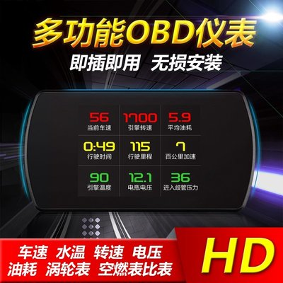 汽車通用OBD多功能汽車診斷儀表 行車電腦屏 OBD2 抬頭顯示器 HUD  100多種數據顯示 智能高清平視投影儀SH雜貨TT33