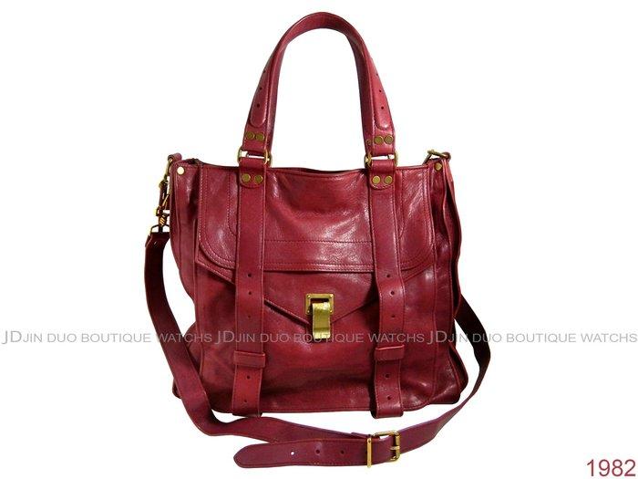 金鐸精品~1982 Proenza Schouler PS1 Totes 紫紅色山羊皮 手提側肩背包 托特包