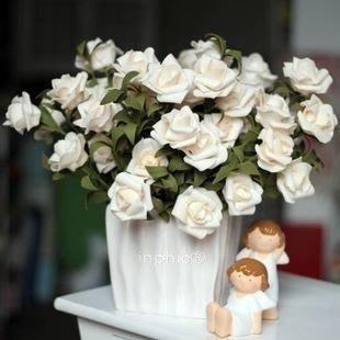 INPHIC-歐式田園PU玫瑰仿真花白色陶瓷花瓶整體花藝套裝裝飾假花絹花