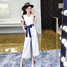 格格家2018夏裝新款時尚V領無袖系帶上衣+高腰撞色九分闊腳褲套裝