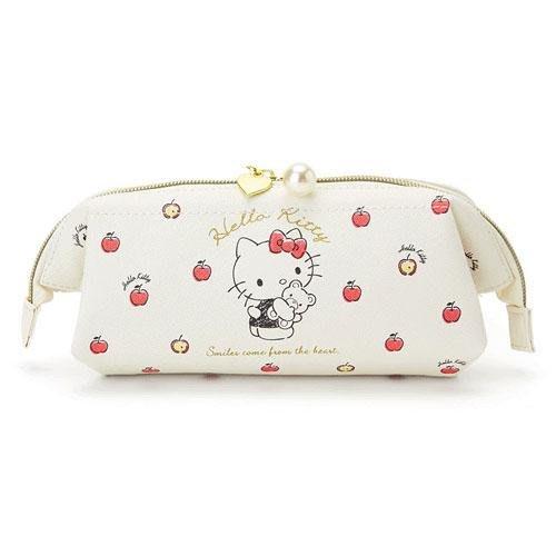 HELLO KITTY凱蒂貓大開口收納包 皮革化妝包 優雅白小熊款 日本三麗鷗正版~彤小皮的遊go世界