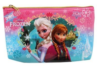 【卡漫迷】 冰雪奇緣 萬用筆袋 藍配粉 ㊣版 艾莎 化妝包 安娜 公主 Frozen Olaf Elsa 雪寶