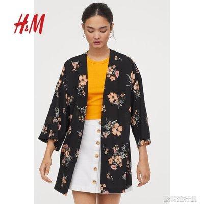 風衣外套HM DIVIDED女裝 女外套中長款新款縐織和服式外套0721275XYJX