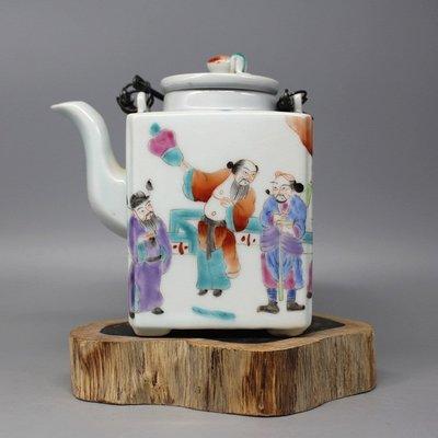 晚清同治款 手繪八仙粉彩四方茶壺