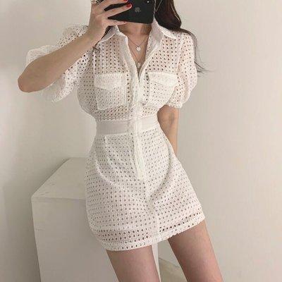 PapaDarling 20SS 韓國氣質鏤空收腰 連身裙 洋裝 黑色 白色