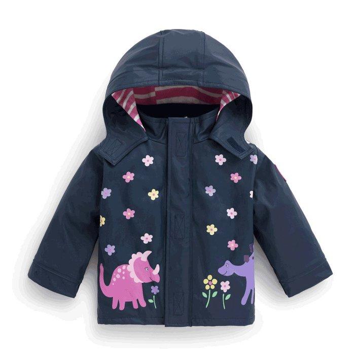 【兔寶寶部屋】JoJo Maman Bebe女童海軍恐龍變色夾克E1271 /潮濕時花朵從白色變為彩色/英國原裝進口