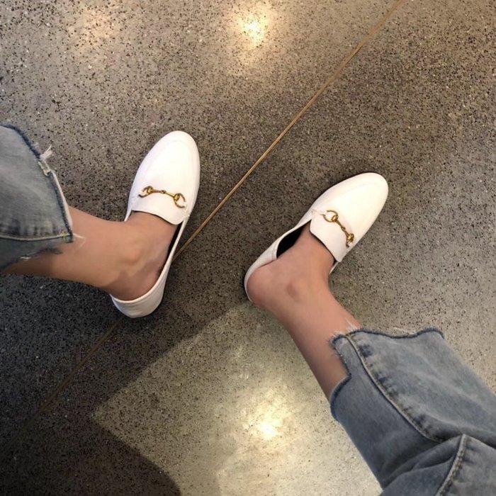 歐美風經典復古款橡膠軟底豬皮墊腳馬銜扣簡約百搭款單鞋低幫女鞋