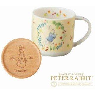 ※龍貓共和國※日本製《彼得兔Peter Rabbit 馬克杯 瓷杯 咖啡杯 造型杯 附原木杯蓋 可當杯墊》